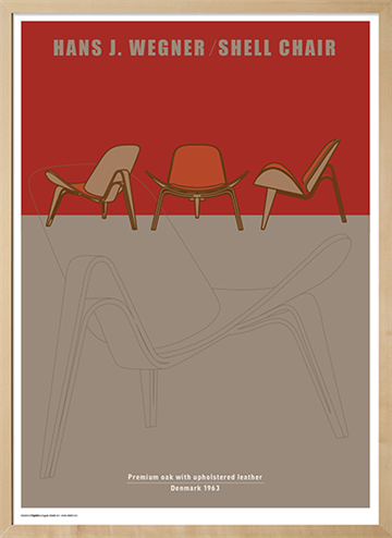 Plakat med Wegners Shell Chair